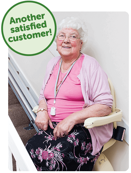 Mrs Sergison with her Acorn Stairlift