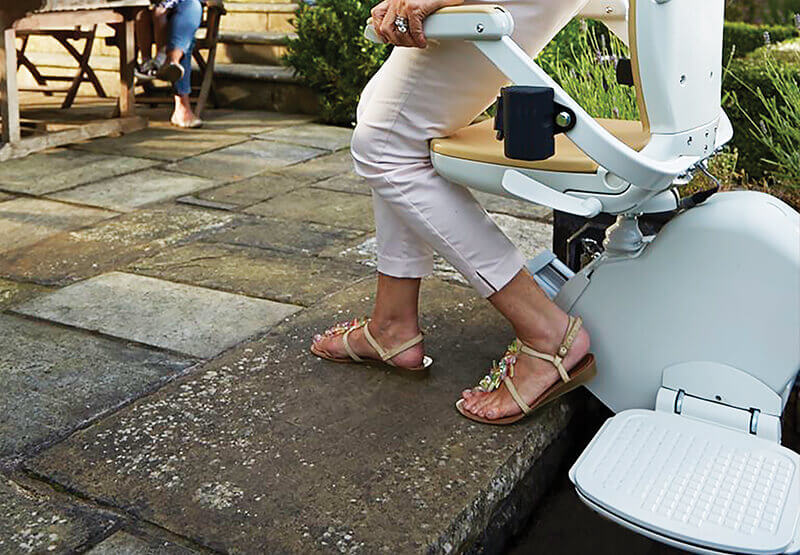 Image of Outdoor stairlift adjustable swivel seat